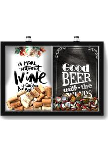Quadro Porta Rolha Vinho E Tampinha Cerveja (2 Em 1) 33X43 Cm - Com Led Nerderia E Lojaria Breakfast E Good Beer Black Preto - Preto - Dafiti