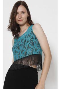 2c2c739d5e ... Blusa Em Renda Com Franja- Verde Água   Preta- Silk Silk Lord