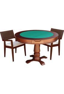 Mesa De Jogos Carteado Victoria Redonda Tampo Reversível Imbuia Com 2 Cadeiras Megan Linho Bege - Gran Belo
