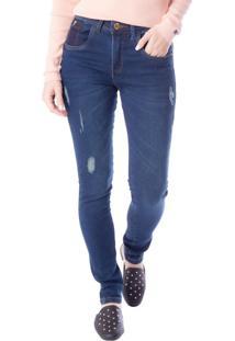 Calça Jeans Feminina Tm Denim Justa Azul Escuro - 36