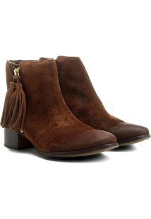 Bota Couro Cano Curto Shoestock Barbicacho Feminino - Feminino-Marrom