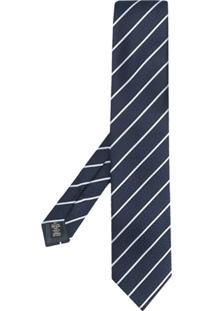 Ermenegildo Zegna Gravata Com Listras Diagonais - Azul