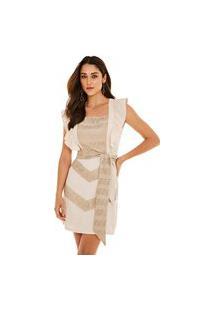 Vestido Morena Rosa Curto Decote Quadrado Recorte Frente Bege