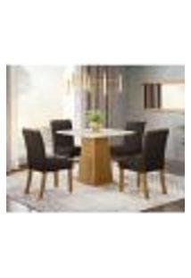Mesa De Jantar Dora 90Cm 4 Cadeiras Vega - Nature/Off White/Marrom
