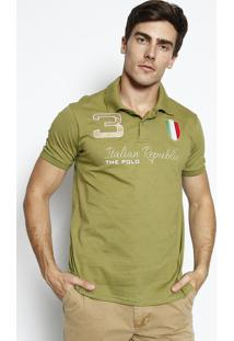 Polo Itã¡Lia Com Bordado- Verde & Douradaclub Polo Collection