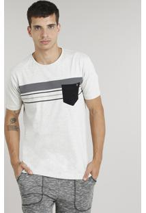 Camiseta Masculina Com Listras E Bolso Manga Curta Gola Careca Off White