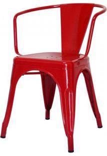 Cadeira Iron Tolix Com Braco Com Pintura Epoxi Vermelha - 48194 - Sun House