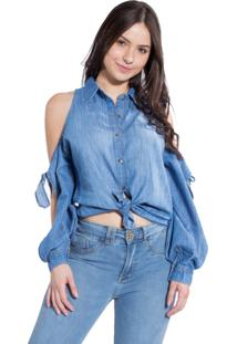 Camisa Rosa Line Jeans Off Shoulder