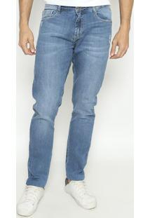 Jeans Reto Concept Fit De Puídos - Azulindividual