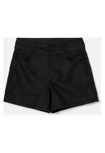 Short Jeans Resinado Curve & Plus Size Preto