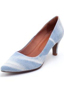 Scarpin Scarpana Jeans Salto 5 Azul