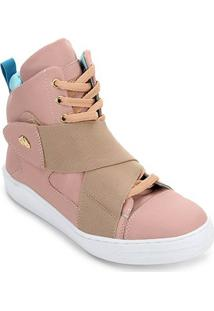 Tênis Couro Cano Alto Hardcorefootwear Ii Feminino - Feminino-Rosa