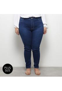 Calça Jeans Skinny Sawary Cigarrete Cintura Média Plus Size Feminina - Feminino