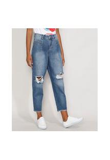 Calça Jeans Feminina Cintura Alta Sawary Baggy Destroyed Com Recortes Azul Médio