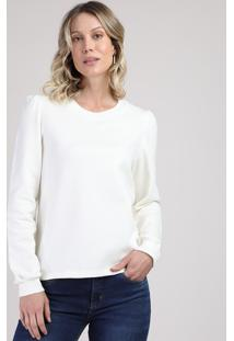Suéter Feminino Em Tricô Leve Decote Redondo Off White