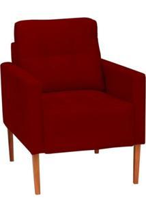 Poltrona Decorativa Estér Pés De Madeira Vermelha Condor Decor