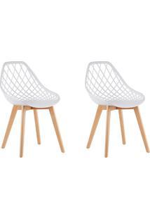 Conjunto Com 2 Cadeiras De Jantar Siberian Tulipa Branco