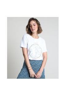 Blusa Feminina Constelações Manga Curta Decote Redondo Branca