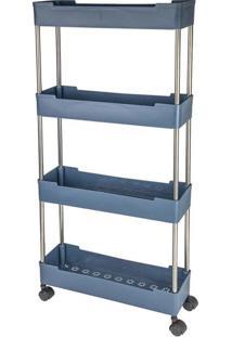 Estante De Plástico Multiuso Le Empilhável Com Rodas E 4 Prateleiras Azul