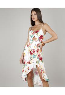 Vestido Feminino Mullet Estampado Floral Com Babado Alças Finas Decote V Off White