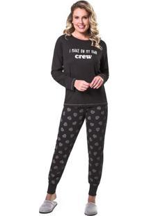 Pijama De Inverno Coração Diamante Feminino Adulto