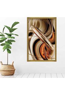 Quadro Love Decor Com Moldura Abstrato Dourado Médio