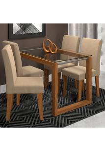 Conjunto De 4 Cadeiras Para Sala De Jantar 120X80 Anita/Milena-Cimol - Savana / Caramelo
