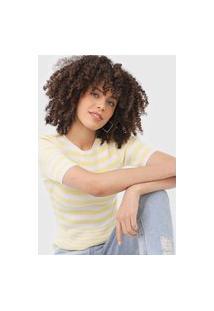 Blusa Tricot Lez A Lez Listrada Amarela/Off-White
