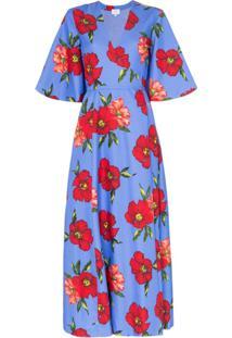 Rebecca De Ravenel Vestido Envelope Com Estampa Floral - Azul