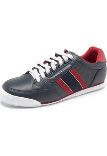 Tênis Couro Tommy Hilfiger Liso Cinza