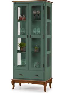 Cristaleira Bianicci Verde Musgo 2 Portas 3 Prateleiras 1 Gaveta Base Imbuia 205Cm - 59888 - Sun House