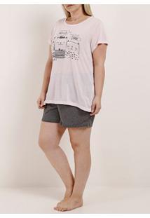 Pijama Curto Plus Size Feminino Rosa/Cinza