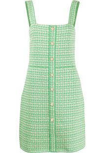 Sandro Paris Vestido Decote Quadrado De Tweed - Verde