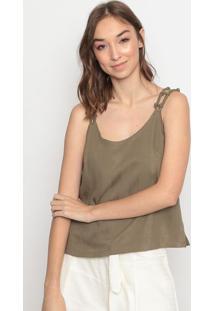 Blusa Texturizada Com Nã³S- Verde Militarla Chocolãª