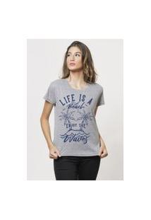 Camiseta Jay Jay Basica Life Is A Beach Cinza Mescla Dtg