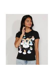 Camiseta Feminina Manga Curta Ursinhos Carinhosos Decote Redondo Preta