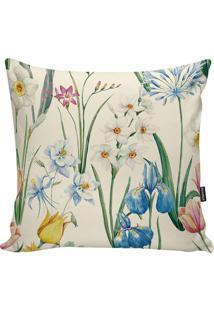 Capa Para Almofada Flowers- Cru & Verde- 45X45Cmstm Home