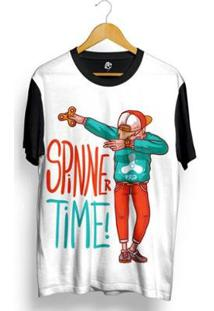 Camiseta Bsc Spinner Time Sublimada Masculina - Masculino-Branco+Preto