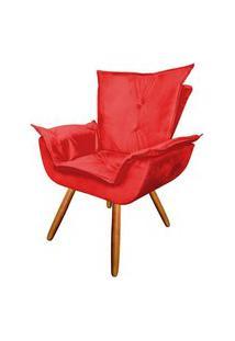 Poltrona Decorativa Emília Plus Pés Palito Suede Vermelho - Ds Móveis