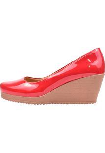 Sapato Eleganteria Scarpin Anabela Salto Médio Vermelho