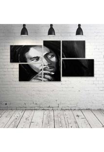 Quadro Decorativo - Bob-Marley-Art - Composto De 5 Quadros