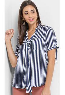 Blusa Lily Fashion Bolso Laço Decote Y Feminina - Feminino-Azul