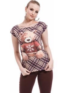 T Shirt Angel Manga Curta Ursos Xadrez