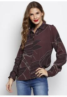 Camisa Texturizada- Marrom Escuro & Bege- Forumforum