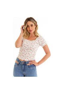 Blusa Kassis Floral Slim Rosa