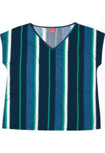 Blusa Azul Estampada Decote V