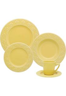 Aparelho De Jantar 30 Peças Mendi Sicília Amarelo Oxford