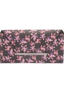 Bolsa Média Clutch Soft Floral Preto