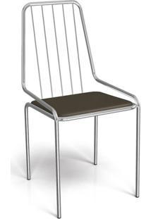 Cadeira De Jantar Benin Cromada E Marrom Escuro