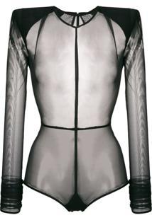 Ann Demeulemeester Body Translúcido - Preto